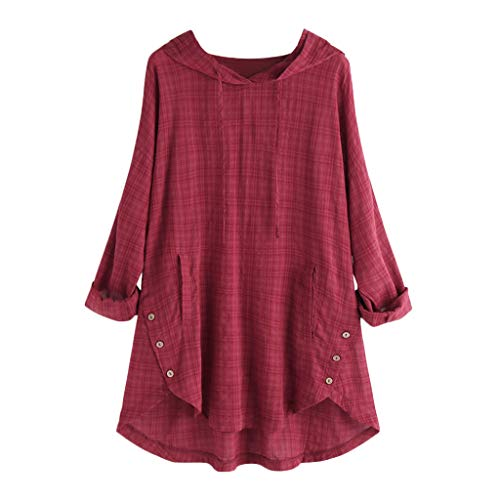 HomeMals Women's Plus Size Long Sleeve Button Down Loose T Shirt Tops Red
