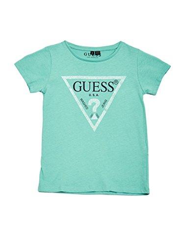 GUESS Little Girls' Short Sleeve Logo T-Shirt, Light Turquoise Patina, 6X/7 -