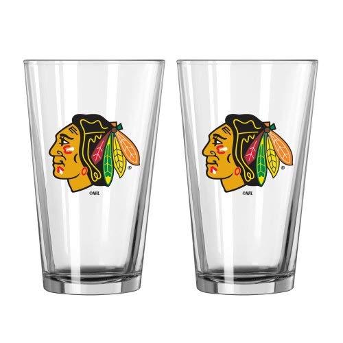 (NHL Blackhawks - Pint Glasses (2)   Chicago Blackhawks 16 oz. Beer Pints - Set of 2)
