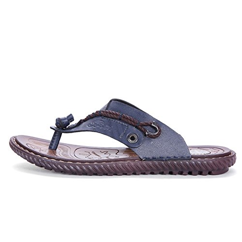 Easy Go Shopping Men's PU Leather Flip Flops Shoes Casual Beach Slippers Non-Slip Soft Flat Sandals,Flip Flop Sandals for Men Blue