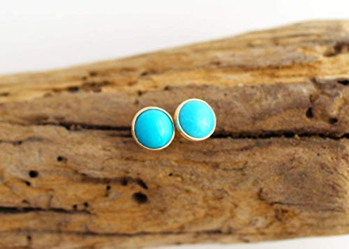 14k Gold Turquoise Stud Earrings. Turquoise Studs Gold by Jane Fuller Designs