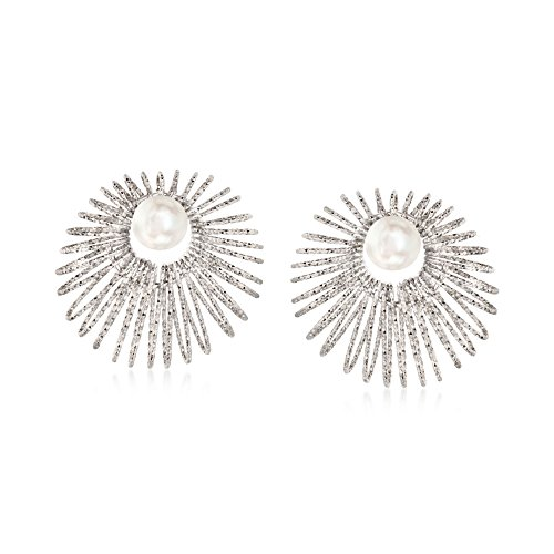 Ross-Simons Italian Sterling Silver Jewelry Set: 8-8.5mm Cultured Pearl Earrings and Starburst Earring Jackets