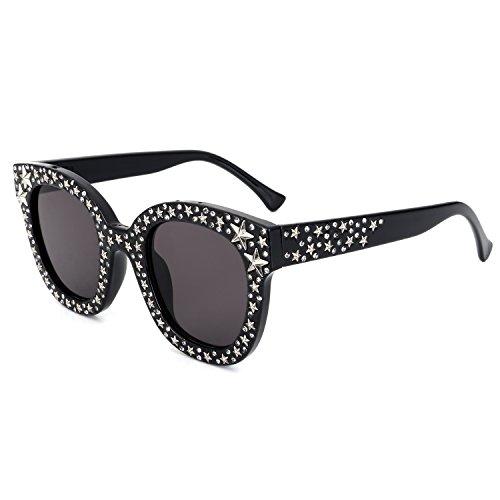 ROYAL GIRL Cat Eye Sunglasses For Women Fashion Designer Acetate Frame With Silver Star Black - Frame Sunglasses Crystal