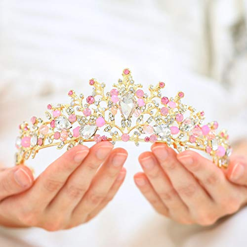 Barogirl Gold Wedding Crown and Tiara Bridal Butterfly Queen Princess Crystal Headband for Women and Girls (Pink) ()