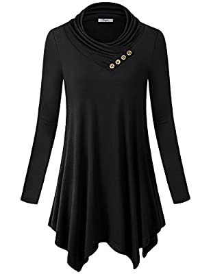Cestyle Womens Long Sleeve Cowl Neck Asymmetrical Hemline Flowy Tunic Top