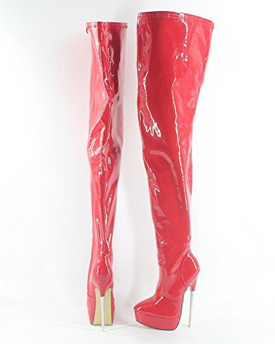 Piikkikorko Saappaat Patent Korkea Punainen Haaroista 7 Platform Seksikäs Äärimmäinen Wonderheel TR5qx4wR