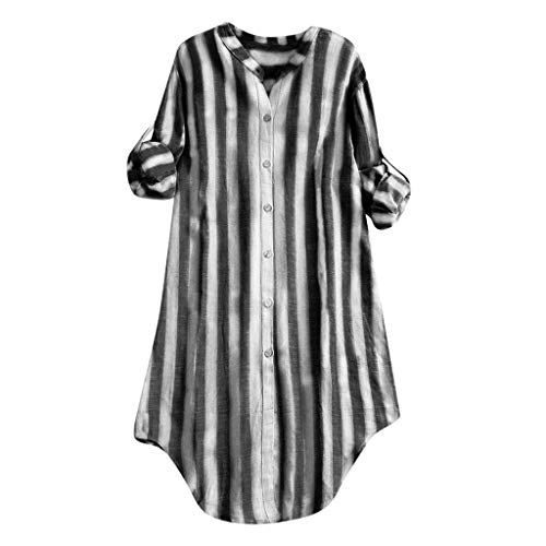 TUSANG Womens Tees Casual Plus Size Loose Button Sleeve Solid Tanic Shirt Blouse Comfy Tunic Tops(C-Black,US-4/CN-S)