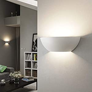 LightHub Half Moon Modern Up Down Gypsum Plaster Indoor Paintable Wall Washer Uplight E14 (SES) Sconce Light Fitting White (No LED Bulb)