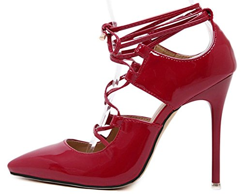 Easemax Womens Elegant Stiletto Lace Up Ankle High Pointed Toe High Heel Pumps Shoes Red 0LfjP