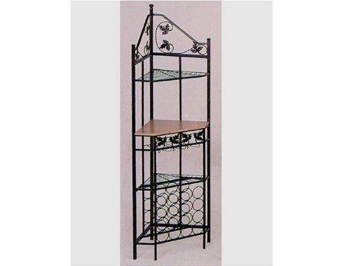 (Corenr Rack in Oak Wood Finish and Metal Frame By H.P.P)