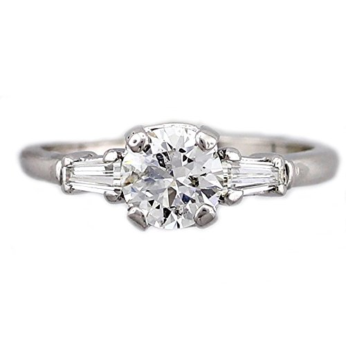 Platinum Solitaire Engagement Ring Round and Tapered Baguette Diamonds 1.13 cttw ( Center Diamond J-K Color, I1 Clarity) IGI Certificate (Platinum Round Center Tapered)