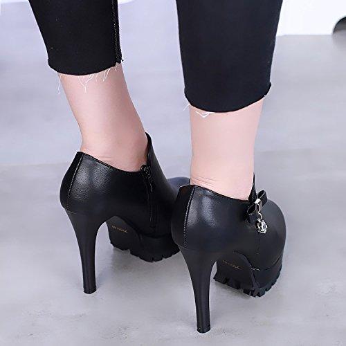 KHSKX-Die Herbst - Runde Super - High - Heels Mit Einem Feinen Wasserdicht Mode - Stiefel Schuhe Und Stiefel Nackt...