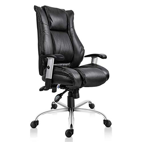 (  Smugdesk Executive Office Ergonomic Heavy Duty Computer Bonded Leather Adjustable Desk Chair, Swivel Comfortable Rolling, Black)
