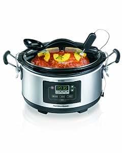 Hamilton Beach Deluxe Set Forget 6 Quart Slow Cooker Home Kitchen