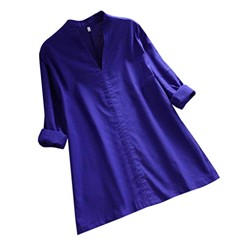 s Casual Loose Full Sleeve Shirts Solid Color V Neck Ruched Tunic Tops Blouse Blue ()