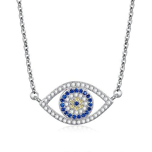 Kaletine Blue Evil Eye Pendant Necklace Sterling Silver 925 Cubic Zirconia Chain Adjustable 16