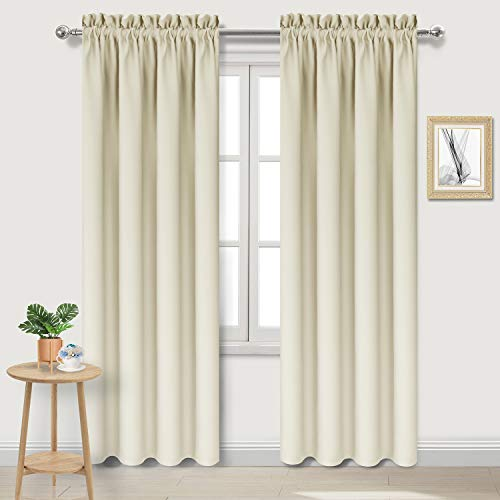 DWCN Blackout Curtains Room Darkening Thermal Insulated Bedroom Curtains Window Curtain Panels, 42 x 84 inches Long, Set of 2 Beige Rod Pocket ()