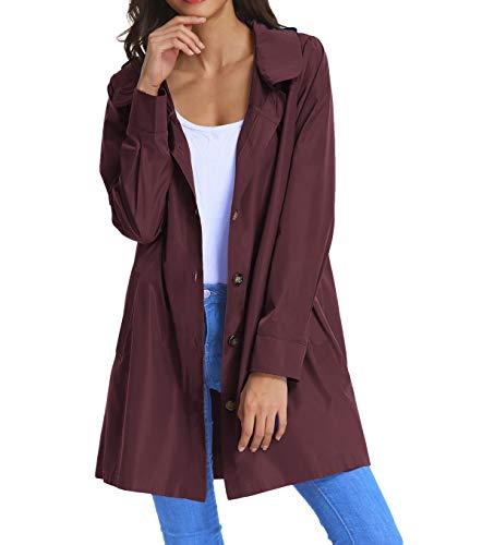 Women's Lightweight Outdoor Coat Windproof Hoodies Rain Jacket XL Wine