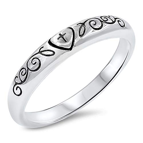 Cross Heart Vine Swirl Purity Love Ring New .925 Sterling Silver Band Size 8 -