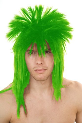 Rock Legend Costumes Wig (80'S Rock Legend Pop Star Heavy Metal Style Wig Fancy Dress - Green by FDC Wigs and Facial Hair)