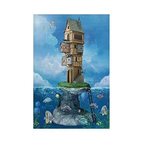 California Life Coral - Polyester Garden Flag Outdoor Flag House Flag Banner,Cartoon,Fantasy Fisherman House Fairytale Underwater Life Fishes Coral Cloudy Sky,Blue Brown Green,for Wedding Anniversary Home Outdoor Garden Deco