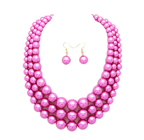Women's Simulated Faux Three Multi-Strand Pearl Statement Necklace and Earrings Set (Hot ()