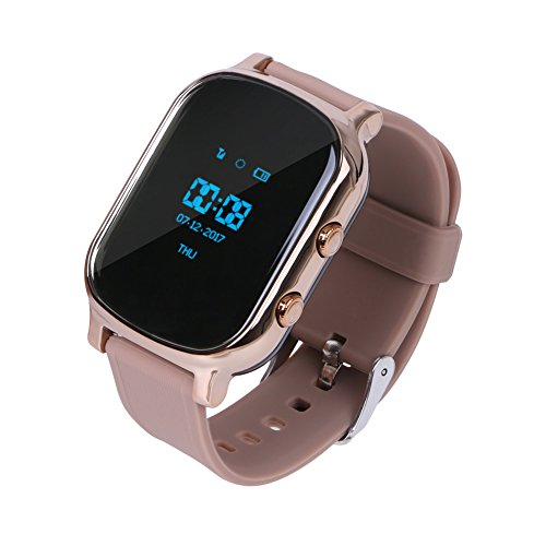 GPS Tracker For Kids Children Smart Watch Kids Wrist Watch T58 Anti-lost SOS Call Location Finder Remote Monitor Pedometer Functions Parent Control By iPhone and Android Smartphones APP (Gold) ()