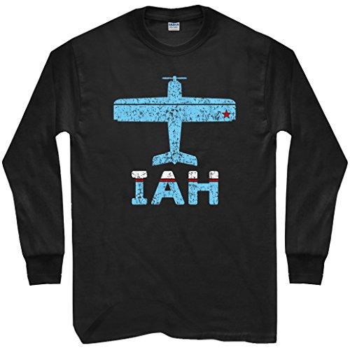 Smash Vintage Men's Fly Houston IAH Airport Long Sleeve T-shirt - Black, - Airport Shops Iah