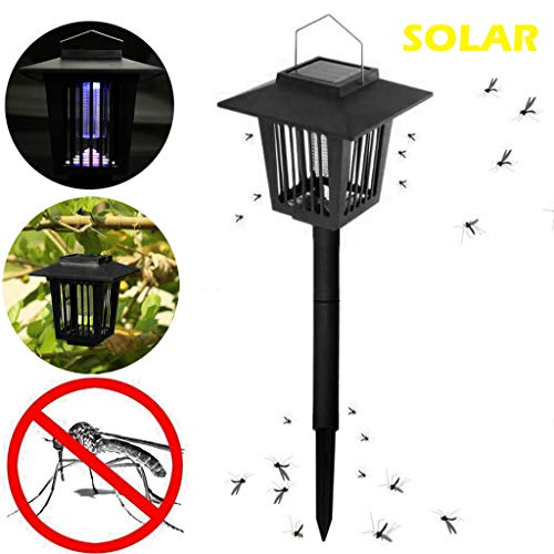 Gallity New & Improved 2-in-1 Solar Powered Zapper,Enhanced Outdoor Flying Insect Killer, Fly Pest Bugs Insect Killer Lamp for Home Garden,Best Stinger for Mosquitoes/Moths/Flies (Uv 40 Stinger)