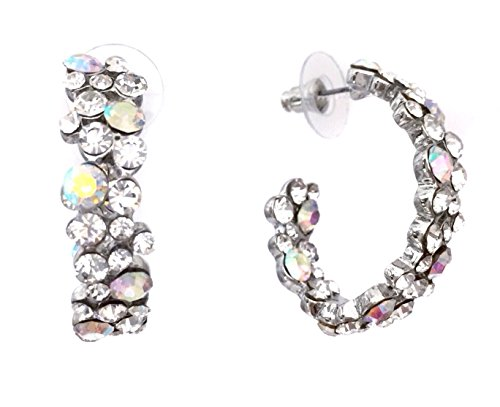 Jeweled Oval Hoop - AB Clear Rhinestone Oval Hoop Formal Silver Tone Earrings