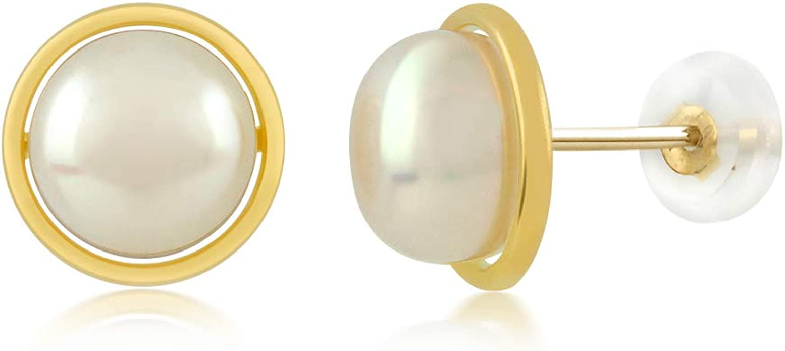 12-12.5mm White Button Shape Freshwater Cultured Double Pearl Stud Earrings 14k Yellow Gold 8-8.5mm