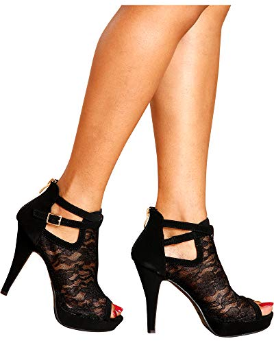 Top Moda Women's Khole Lacey Heel, Black,6.5 by Top Moda