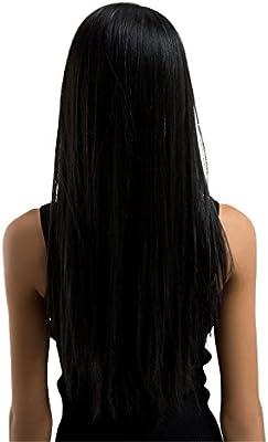D DOLITY Recta Peluca Larga Negras Pelucas para Mujer - Pelucas Diarias de Muchachas Pelucas de Cosplay - Pelucas Largas Belleza Cuidado Personal: Amazon.es: Belleza
