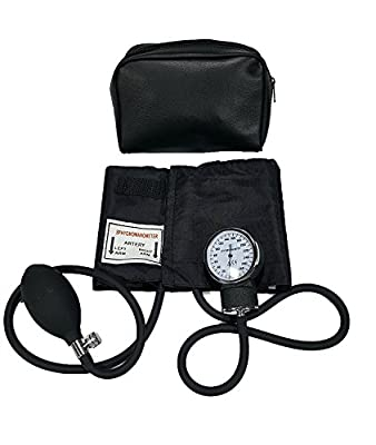 Adult Blood Pressure Cuff Deluxe Aneroid Sphygmomanometer with Cuff and Carrying Case Black