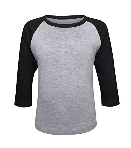 ILTEX Kids & Youth Baseball Raglan T-Shirt 3/4 Sleeve Infant Toddler Youth Athletic Jersey Sports Casual (20+ Colors) (6T, Gray/Black)