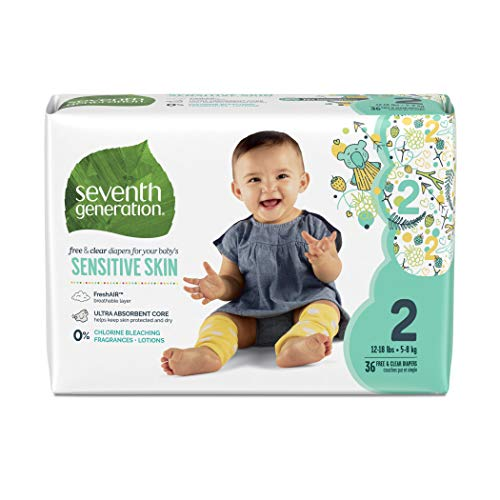 Seventh Generation Baby Diapers, Free & Clear for Sensitive Skin with Animal Prints, Size 2, 180...