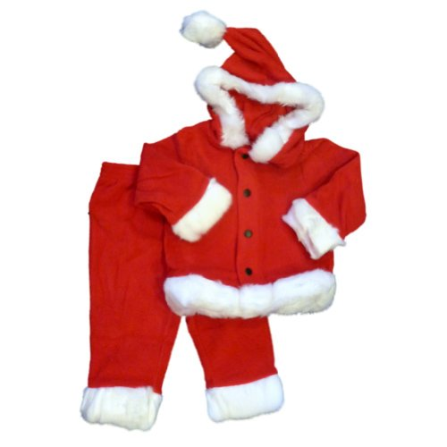 Infant Boys & Girls Plush Red Santa Suit 2 Piece Christmas Baby Outfit -