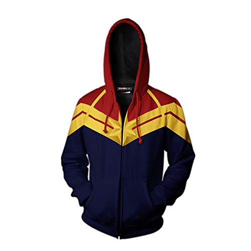 Women's Captain Printed Hoodie Jacket Movie Cosplay Costume Halloween Zipper Hooded Sweatshirt (L, Style 3) -