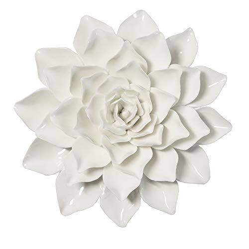 ALYCASO Handmade Dahlia Artificial White Ceramic Flowers 3D Wall Decor Hanging Wall Decorations for Bedroom Living Room Tv Wall Art Sculpture 6 INCH