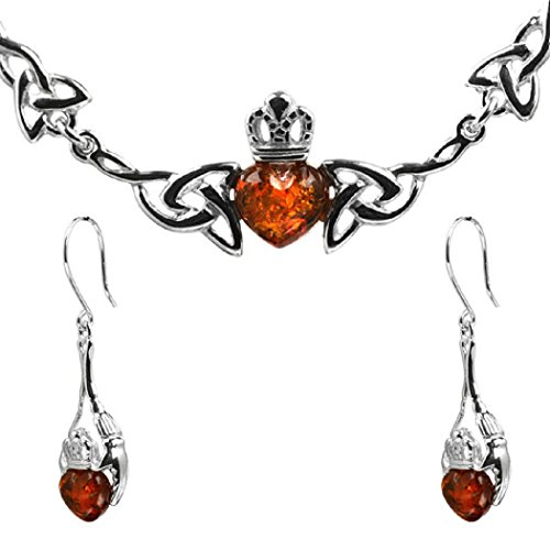Honey Amber Sterling Silver Heart Claddagh Set Dangling Earrings Necklace 18