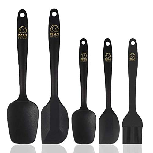 BeanHeadz 5-Piece Silicone Spatula Set - Heat Resistant Non Stick Rubber Spatulas for Cooking, Baking, and Mixing - FDA certification for silicone raw material and BPA Free Pro-Grade Silicone (Black)