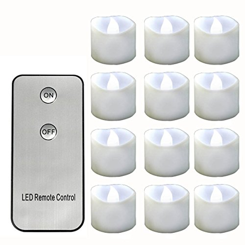 Horeset 12pcs Cold white Flickering LED with Remote Contr...