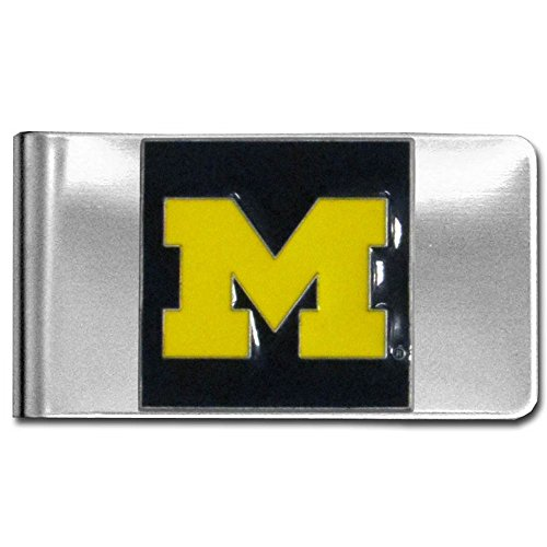 University of Michigan Wolverines stainless steel logo design Money Clip/Card Holder free shipping (Card Designs Free)