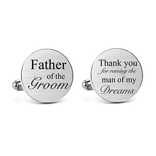 MUEEU Father of Groom Cufflinks Mens Shirts Accessories Silver Wedding Best Man Cuff Link Gift Personalized Cuff (Round Father of The Groom Cufflinks) (Wedding Speech Ideas For Father Of Groom)
