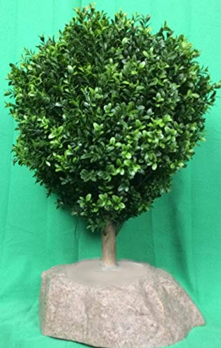 """(Artificial UV Rated Outdoor 24"""" Ball Boxwood Topiary Tree Bundled with Sm Rock Planter Cover, by Silk Tree Warehouse)"""