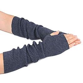 Zeltauto Women's Knit Elbow Length Arm Warmer Thumb Hole Fingerless Glove