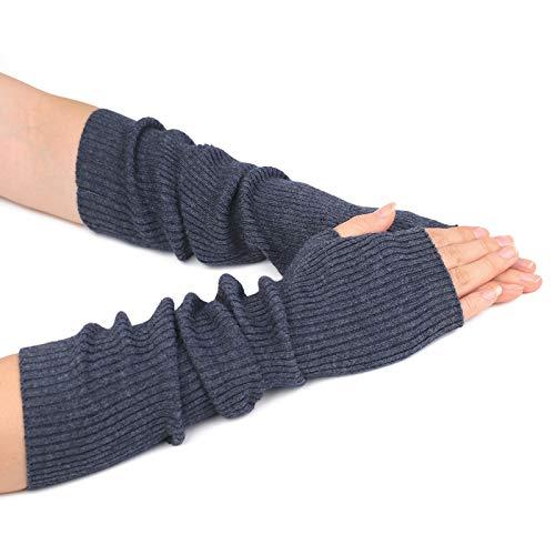 Flammi Women's Knit Arm Warmers Cashmere Long Fingerless Gloves Thumbhole Mittens (Dark Grey) (Women Hand Warmer)