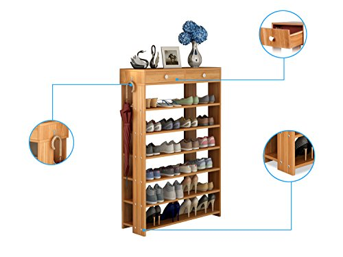 Polar Aurora Shoe Racks 7 Tiers Multi-function Economy Storage Rack Standing Shelf Organizer (Wood) by Polar Aurora (Image #3)