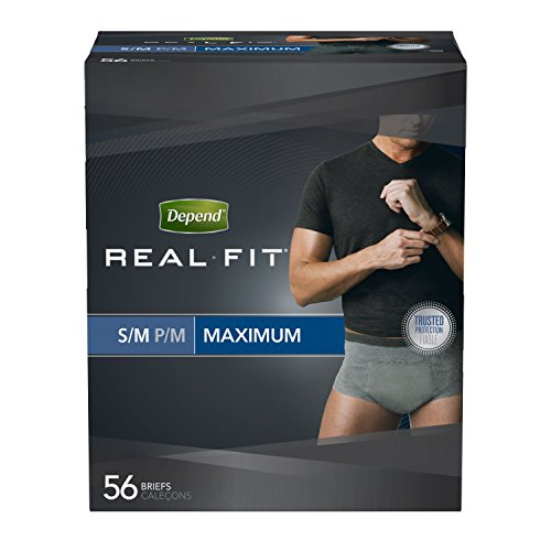 Depend Real Fit Incontinence Briefs for Men, Maximum Absorbency, S/M, Grey