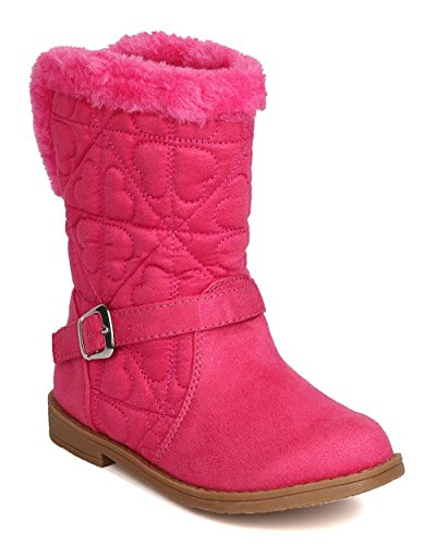 Little Angel Girls Quilted Hearts Suede Fur Riding Winter Boot FG02 - Pink (Size: Toddler - Heart Box Quilted